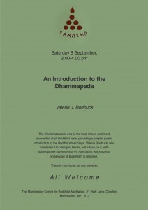 Poster for talk, 'Introduction to the Dhammapada'